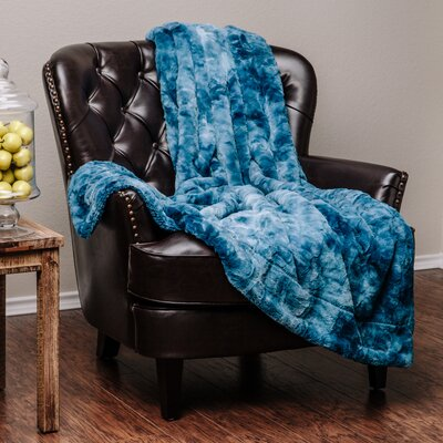 Trio Super Soft Fuzzy Fur Warm Cozy Sherpa Throw Blanket Color: Blue, Size: 65 L x 50 W