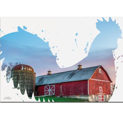 Silhouette 'Rooster Farm' Graphic Art Print on Metal