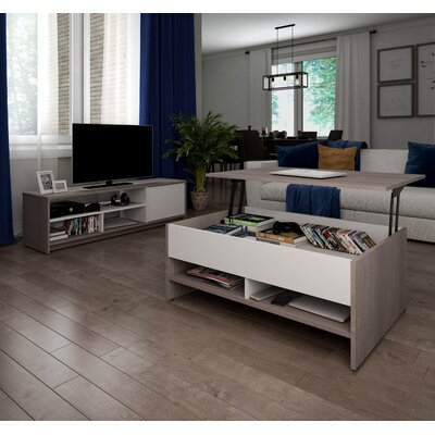 Frederick Coffee Table and 54 TV Stand Set Color: Dark Gray/White