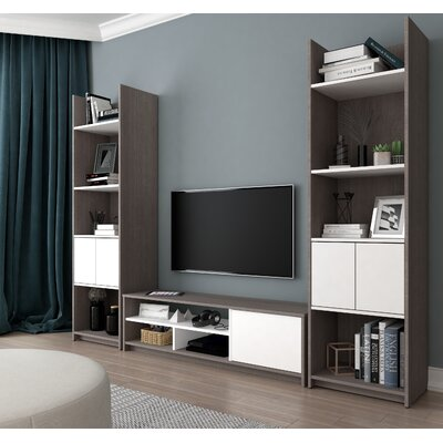 Frederick Entertainment Center Finish: Dark Gray/White