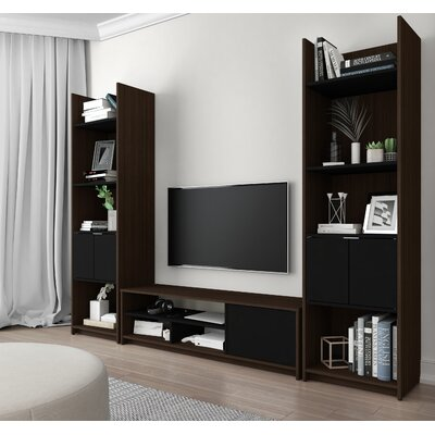 Frederick Entertainment Center Finish: Dark Chocolate/Black
