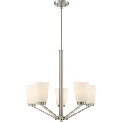 Walton 5-Light Shaded Chandelier Finish: Brushed Nickel