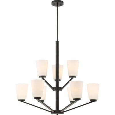 Naccarato 9-Light Shaded Chandelier Finish: Mahogany Bronze