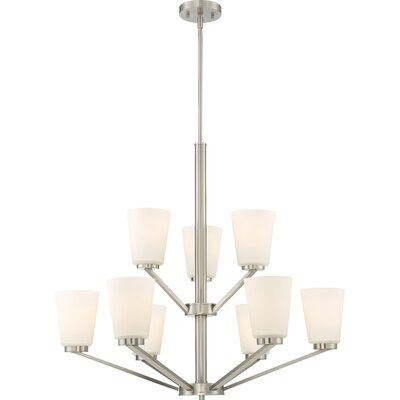 Walton 9-Light Shaded Chandelier Finish: Brushed Nickel