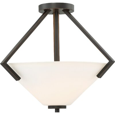 Walton 2-Light Semi Flush Mount Finish: Mahogany Bronze