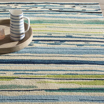 Angelina Blue/Green Abstract Indoor/Outdoor Area Rug Rug Size: 36 x 56
