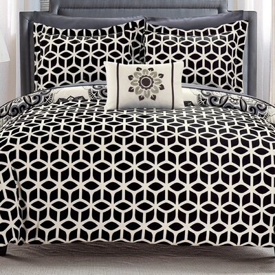 Fuller Reversible Comforter Set Size: Full/Queen, Color: Black