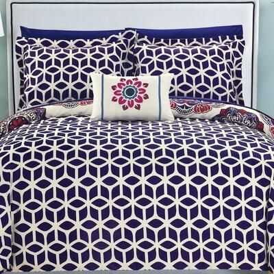Fuller Reversible Comforter Set Size: King, Color: Navy