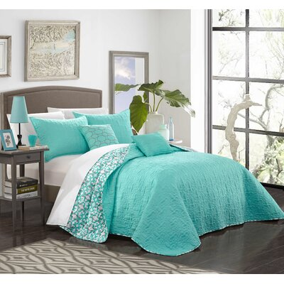 Hubbard Reversible Quilt Set Size: Twin, Color: Aqua
