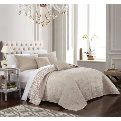 Hubbard Reversible Quilt Set Size: King, Color: Beige