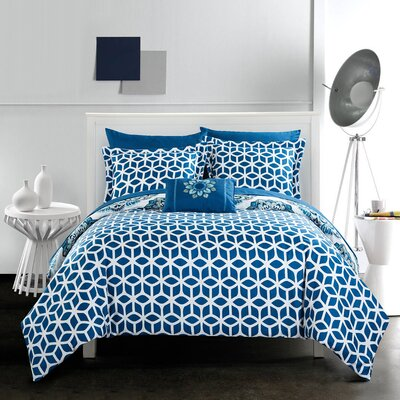 Fuller Reversible Comforter Set Size: Twin, Color: Blue