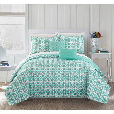 Hubbard 12 Piece Reversible Quilt Set Size: King, Color: Aqua