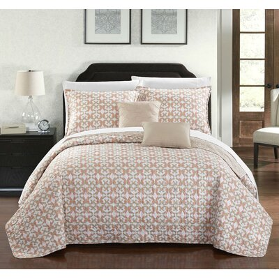 Hubbard 12 Piece Reversible Quilt Set Size: Queen, Color: Beige