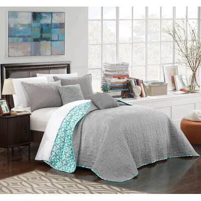 Hubbard 12 Piece Reversible Quilt Set Size: King, Color: Gray