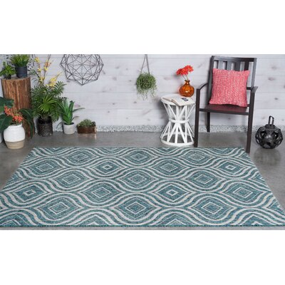 Weber Contemporary Aqua Indoor/Outdoor Area Rug Rug Size: 53 x 73
