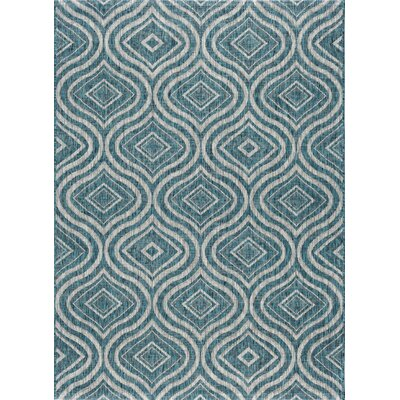 Weber Contemporary Aqua Indoor/Outdoor Area Rug Rug Size: 67 x 96