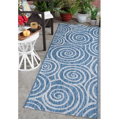 Weber Transitional Indigo Indoor/Outdoor Area Rug Rug Size: Runner 27 x 73
