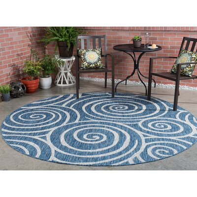 Weber Transitional Indigo Indoor/Outdoor Area Rug Rug Size: Round 710