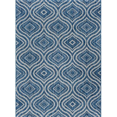 Weber Contemporary Indigo Indoor/Outdoor Area Rug Rug Size: 53 x 73