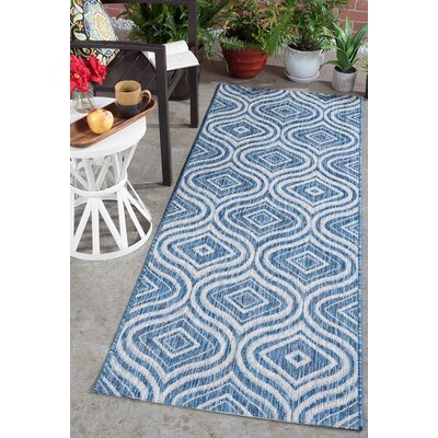 Weber Contemporary Indigo Indoor/Outdoor Area Rug Rug Size: Runner 27 x 73