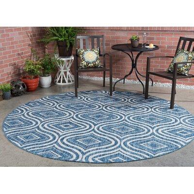 Weber Contemporary Indigo Indoor/Outdoor Area Rug Rug Size: Round 710