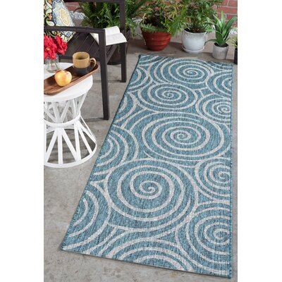 Weber Transitional Aqua Indoor/Outdoor Area Rug Rug Size: Runner 27 x 73