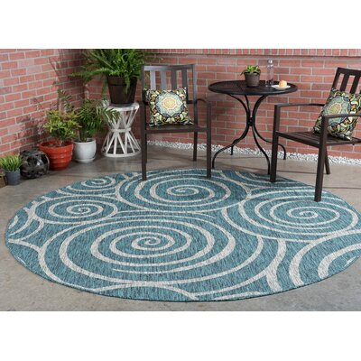 Weber Transitional Aqua Indoor/Outdoor Area Rug Rug Size: Round 710