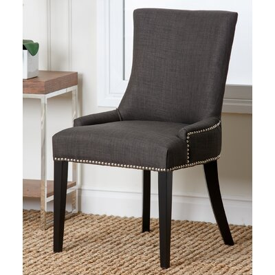 Arline Nailhead Dining Chair Upholstery: Fabric - Gray