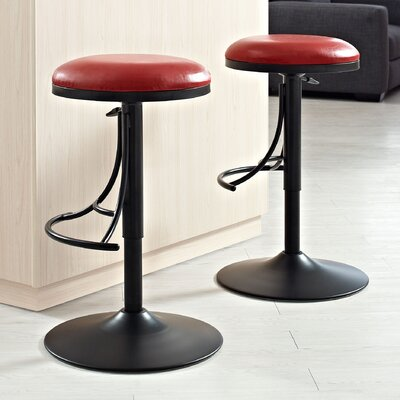 Stein 31 Swivel Bar Stool Finish: Black, Upholstery: Red