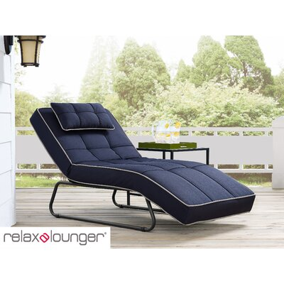 Andrew Outdoor Convertible Chaise Lounge with Cushion Fabric: Navy Blue