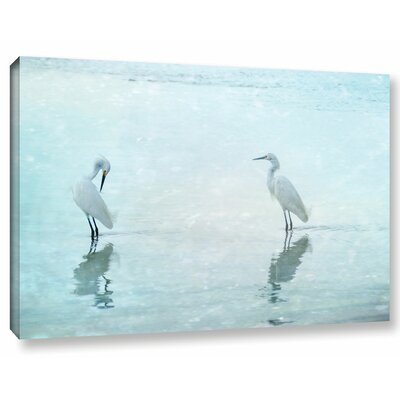 'White Cranes' Graphic Art Print on Wrapped Canvas Size: 12