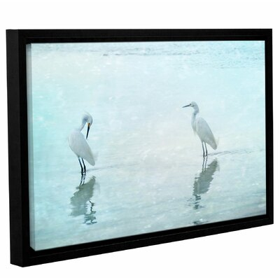 'White Cranes' Framed Graphic Art Print on Canvas Size: 12