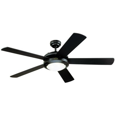 52 Zavala 5 Reversible Blade Ceiling Fan Finish: Matte Black with Matte Black/Marble Blades