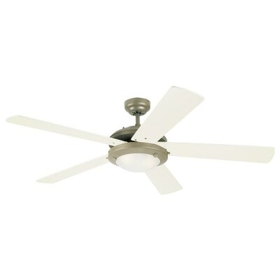 52 Zavala 5 Reversible Blade Ceiling Fan Finish: Brushed Pewter with Light Maple/White Blades