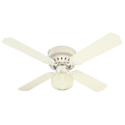 42 Walker 4 Reversible Blade Ceiling Fan Finish: White with White/White Washed Pine Blades