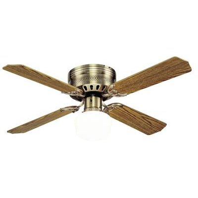 42 Walker 4 Reversible Blade Ceiling Fan Finish: Antique Brass with Oak/Walnut Blades