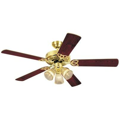 52 Fleming 5 Reversible Blade Ceiling Fan Finish: Polished Brass with Walnut/Oak Blades
