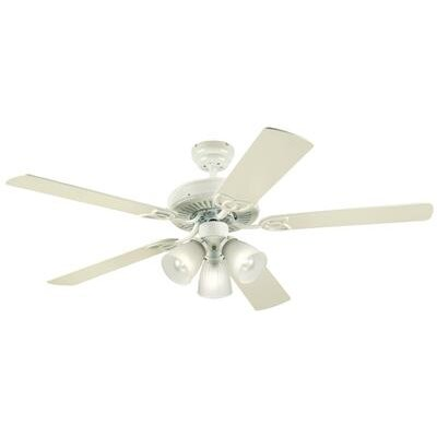 52 Fleming 5 Reversible Blade Ceiling Fan Finish: White with White/White Washed Pine Blades