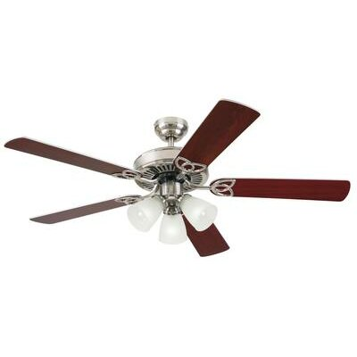 52 Fleming 5 Reversible Blade Ceiling Fan Finish: Brushed Nickel with Rosewood/Light Maple Blades
