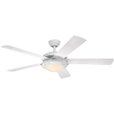 "52"" Zavala 5 Blade Ceiling Fan Finish: White LATT4378 37983231"