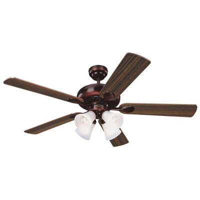 52 Jensen 5 Reversible Blade Ceiling Fan Finish: Rustic Bronze with Mahogany/Rich Walnut Blades