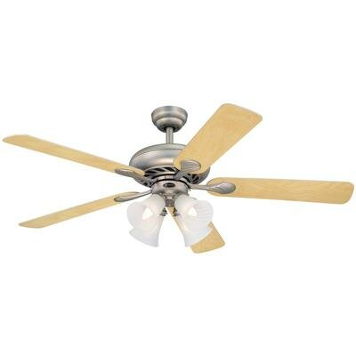 52 Jensen 5 Reversible Blade Ceiling Fan Finish: Brushed Pewter with Light Maple/White Blades