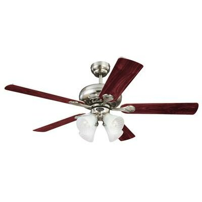 52 Jensen 5 Reversible Blade Ceiling Fan Finish: Brushed Nickel with Rosewood/Light Maple Blades