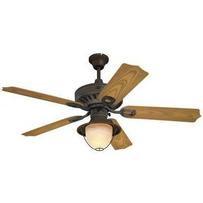 52 Urbana 5 Blade Ceiling Fan Finish: Weathered Iron with Light Oak Blades