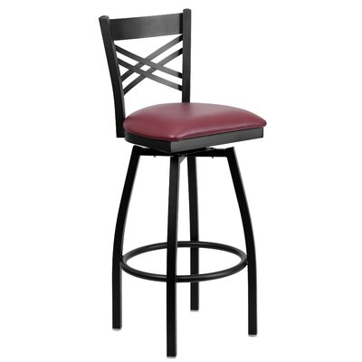 Brennen 32 inch Swivel Bar Stool (Set of 2) Upholstery: Burgundy