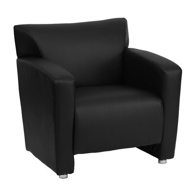 Pyron Leather Club Chair Upholstery: Black
