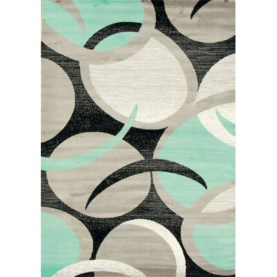 Bennet Abstract Swirl Turquoise Area Rug Rug Size: 52 x 72