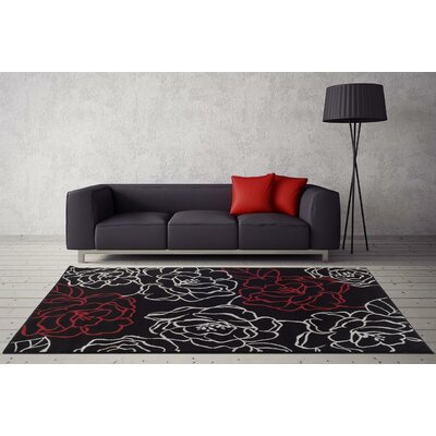Bennet Black Indoor/Outdoor Area Rug Rug Size: 5'2