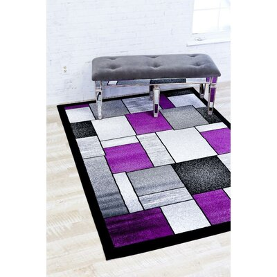 Bennet Purple/Gray Indoor/Outdoor Area Rug Rug Size: 52 x 72