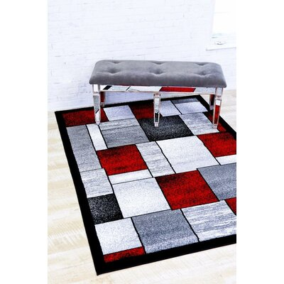 Bennet Red/Gray Indoor/Outdoor Area Rug Rug Size: 52 x 72
